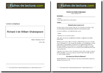 Shakespeare, Richard III, Acte V scène 4 et 5