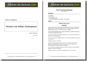 Shakespeare, Richard III, Acte V scène 3