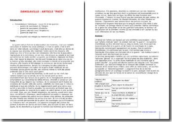 Damilaville, L'Encyclopédie, Paix