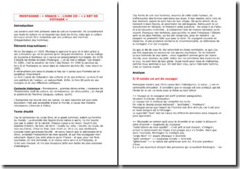 Montaigne, Essais, L'art du voyage (III, 9)