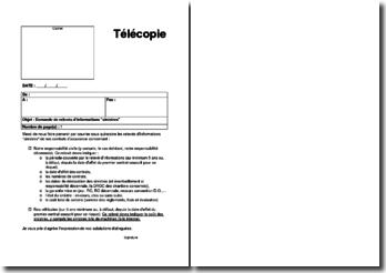 Fax de demande de relevés d'informations assurance