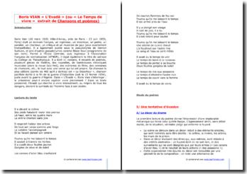 Boris Vian, L'Evadé, tiré de Chansons et Poèmes