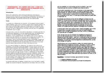 Montesquieu, De l'esprit des lois, Livre VIII Chapitre 2 : De la corruption du principe de la démocratie