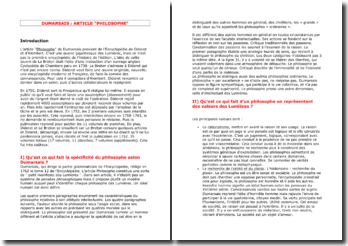 Dumarsais, L'Encyclopédie, Philosophie