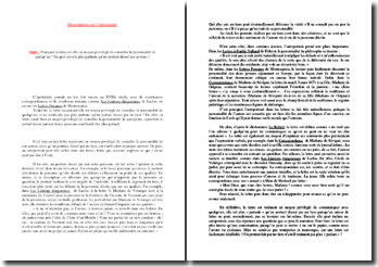 Dissertation de français sur l'épistolaire