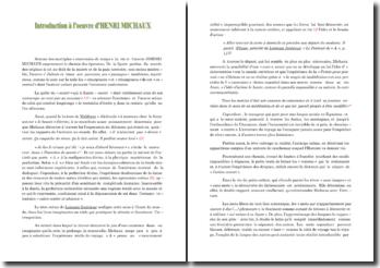 Introduction à l'oeuvre poétique d'Henri Michaux