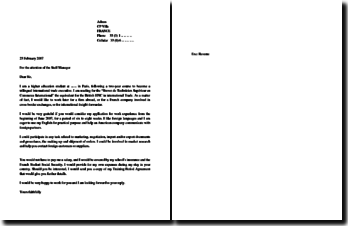 Lettre de motivation en anglais pour un stage : covering letter