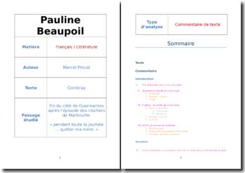 Proust, Combray : plan détaillé d'un commentaire composé