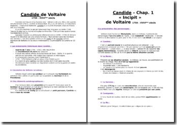 Voltaire, Candide, Chapitres 1, 2, 5, 18, 19, et 30