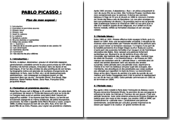 La vie de l'artiste Pablo Picasso