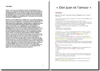 Molière, Dom Juan, Acte I scène 1 : Don Juan et l'amour