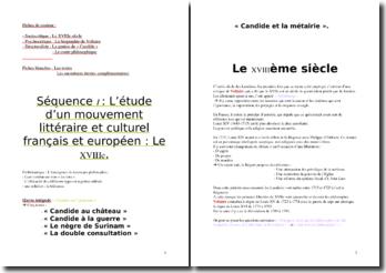 Mouvement littéraire et culturel français et européen : le XVIIIe siècle