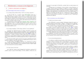 Mondialisation, croissance et développement (SES - Terminale ES)