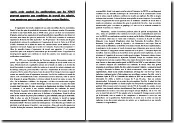 Les Nouvelles Formes d'Organisation du Travail (NFOT) : amélioration des conditions de travail et limites
