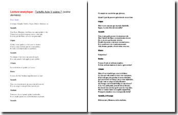 Molière, Tartuffe, Acte V scène 7 : lecture analytique