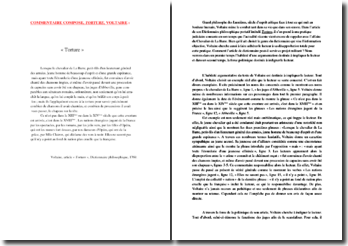Voltaire, Dictionnaire philosophique, Torture : commentaire composé