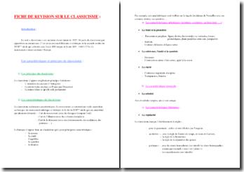 Le classicisme (fiche de révision pour le bac de français)