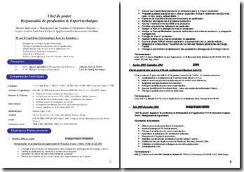 CV type de Chef de projet, Responsable de production et Expert technique