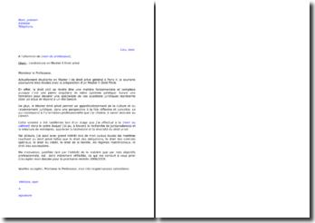 Lettre de motivation candidature Master 2 Droit privé général