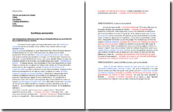 Exemple de synthèse de TPE rédigée