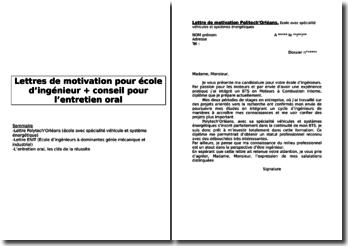 Lettres de motivation pour école d'ingénieurs et conseils pour réussir son entretien oral