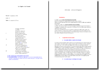 La Fontaine, La Cigale et la Fourmi (étude analytique)