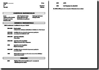 Curriculum Vitae (CV) pour le métier d'auxiliaire de vie