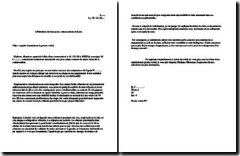 Lettre de requête au bureau des contraventions