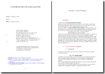 La Fontaine, La Grenouille qui voulait se faire aussi grosse que le Boeuf (étude analytique)