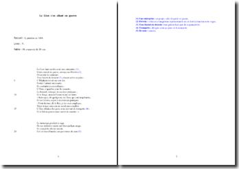 La Fontaine, Le Lion s'en allant en guerre (étude analytique)