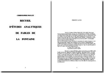 Recueil d'études analytiques de fables de La Fontaine