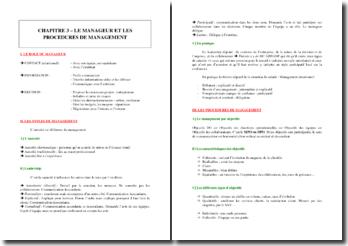 Le manageur et les procédures de management