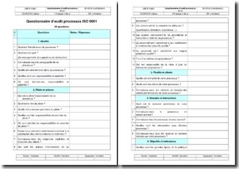 Instruction qualité : questionnaire d'audit processus