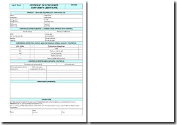 Instruction qualité : certificat de conformité