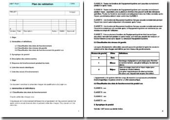 Instruction qualité : plan de validation