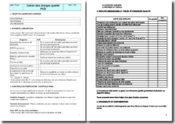 Instruction qualité : cahier des charges qualité PCB