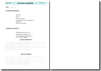 Instruction qualité : anomalie comptabilité