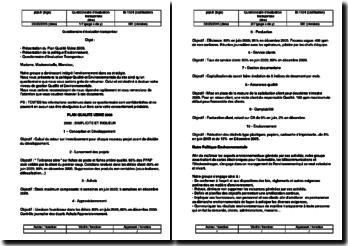Instruction qualité : questionnaire d'évaluation transporteur