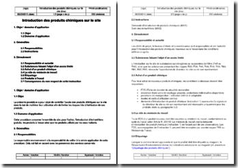 Procédure environnement : introduction des produits chimiques sur le site