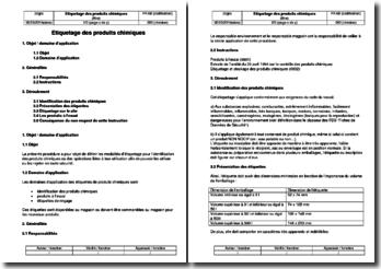 Procédure environnement : étiquetage des produits chimiques