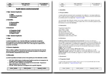 Procédure environnement : audit interne environnemental