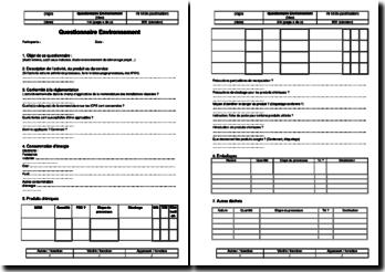 Instruction environnement : questionnaire environnement