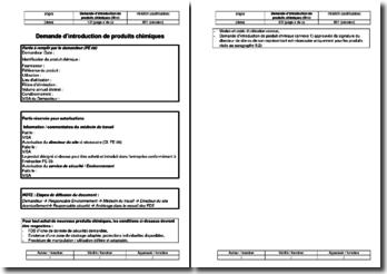 Instruction environnement : demande d'introduction de produits chimiques