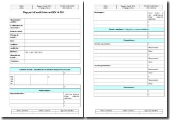 Instruction environnement : rapport d'audit interne ISO 14001