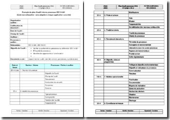 Instruction environnement : plan d'audit processus