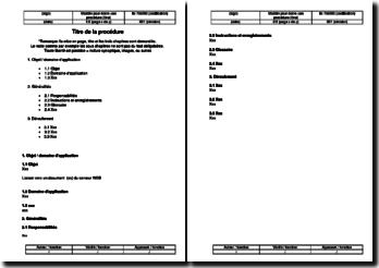 Instruction environnement : modèle pour écrire une procédure