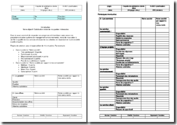 Instruction environnement : enquête de satisfaction clients