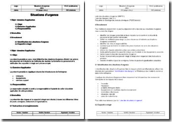 Procédure SST : situations d'urgence