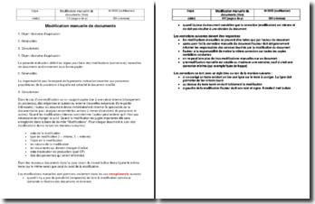 Instruction SST : modification manuelle des documents