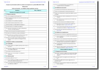 Questionnaire d'audit interne SMQ ISO/TS 16949